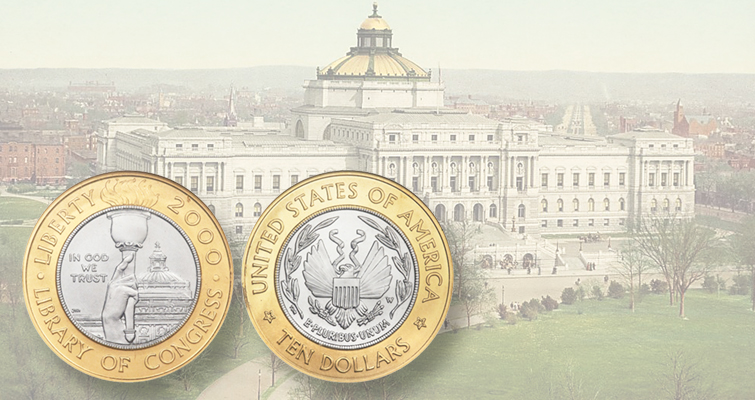 U.S. Mint issues first ringed-bimetallic coin in 2000 for Library of Congress bicentennial.