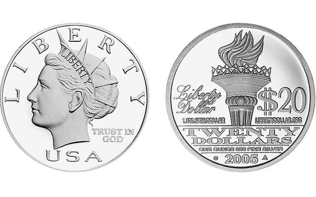 2005 NORFED 20 Liberty 1 oz .999 Silver round Bernard von NotHaus