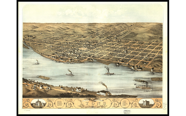 This bird's eye view of the city of Lyons, Iowa in 1868, shows how the city grew from modest beginnings in the early 1850s. The Mississippi River brought many immigrants to Iowa, particularly Germans who were escaping political turmoil in Europe.