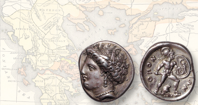 Greek mythology of Ajax, Persephone collide on ancient coin