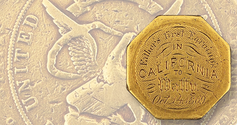 Lot 2215 lead engraved 1852 United States Assay Office of gold $50 octagonal slug
