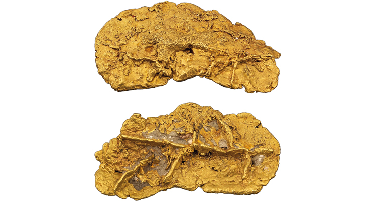 Lot 2227 merged 22.2-troy-ounce crystalline gold nugget Dick Graves Nugget Collection