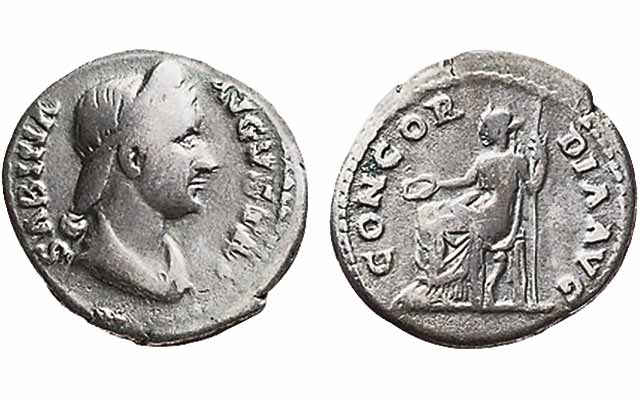 Ancient Roman coins featuring women common, affordable