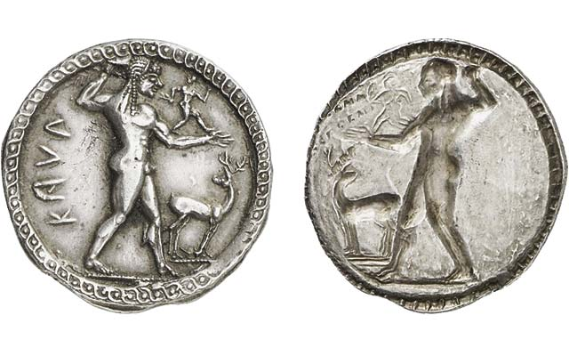 Silver stater from ancient Greece features incuse design