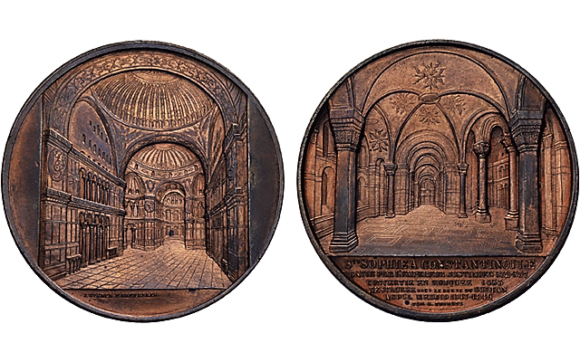 Bronze medal by Jacques Wiener for Hagia Sophia sells in Sincona auction May 23