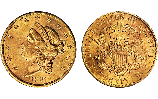 1861 S Paquet Reverse Double Eagle Tops Stacks Bowers Sale