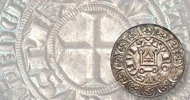 Louis IX reigned between 1226 and 1270 and was named a saint in 1297. A great many of his coins typically show the cross on the obverse surrounded by the king's name — LVDOVICVS REX — and a crude representation of a castle on the reverse.