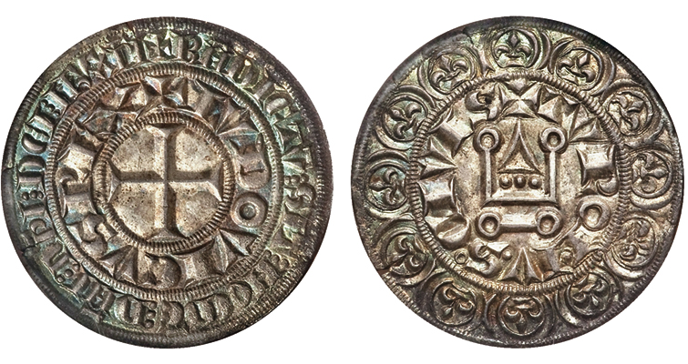 This uncommonly well struck Uncirculated gros tournois of Louis IX fetched $1,527.50 at a Heritage Auctions sale in 2014.