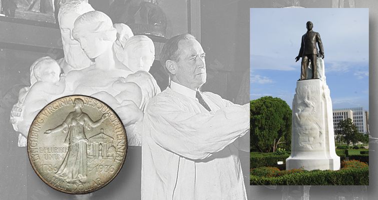 In the early years of the 20th century Charles Keck designed three commemorative coins and dozens of monuments across the country. Shown among his accomplishments are the 1936 Lynchburg Sesquicentennial half dollar reverse and the 12-foot tall bronze statue of Huey Long that stands atop his towering tombstone on the grounds of the Louisiana statehouse.