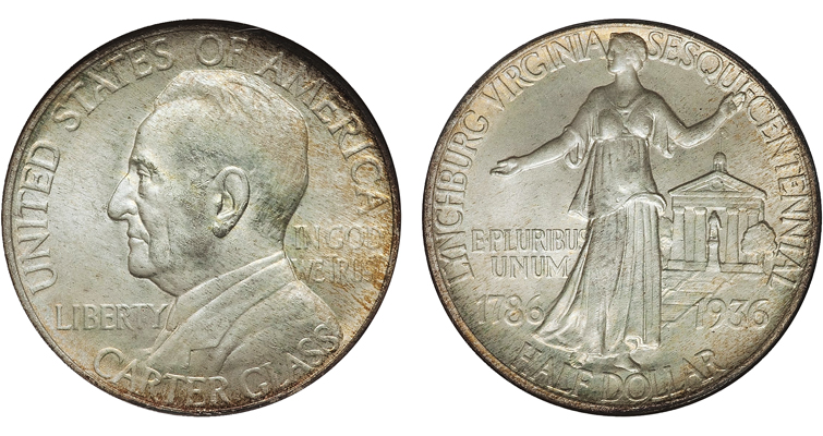 Charles Keck's 1936 Lynchburg Sesquicentennial half dollar remarkably showed the still living Sen. Carter Glass on the obverse and Liberty in front of the Lynchburg Courthouse on the reverse.