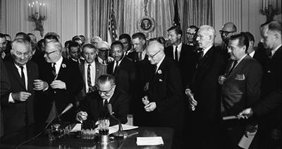 Lyndon Johnson signing 1964 bill