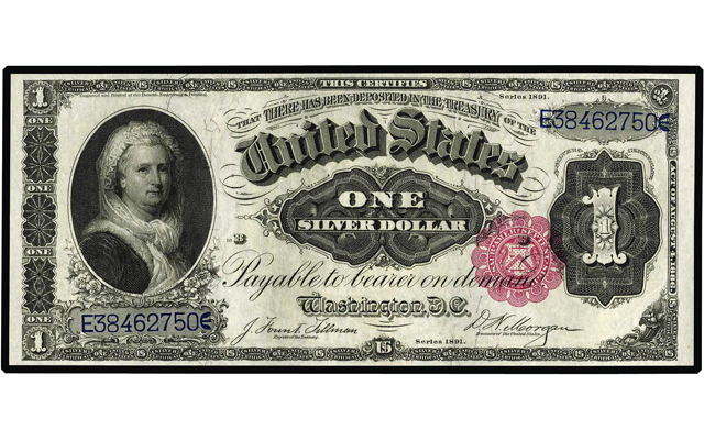 Another turning point will arrive in 2020 when a woman is placed on the $10 note, joining Martha Washington, seen here on the Series 1891 $1 silver certificate, which features a portrait on the left side of the note's face of the nation's first first lady.