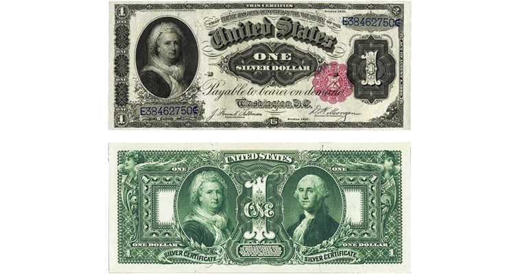 Series 1886 and 1896 $1 silver certificates Martha Washington