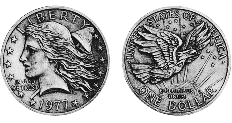 1977 Flowing Hair pattern dollar