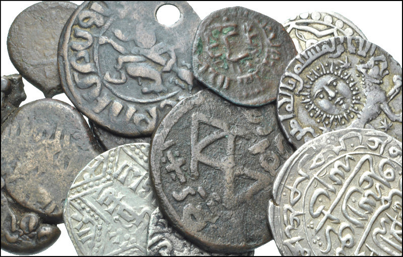 Miscellaneous medieval coins. Despite their worn condition, coins retain their collectibility.