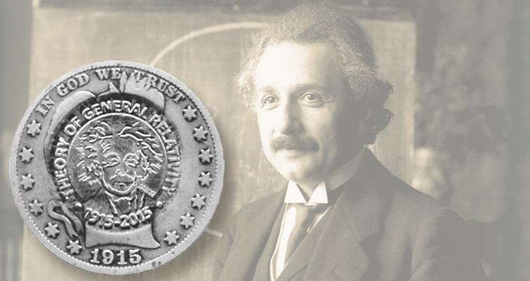 Albert Einstein counterstamped on Barber half dollar