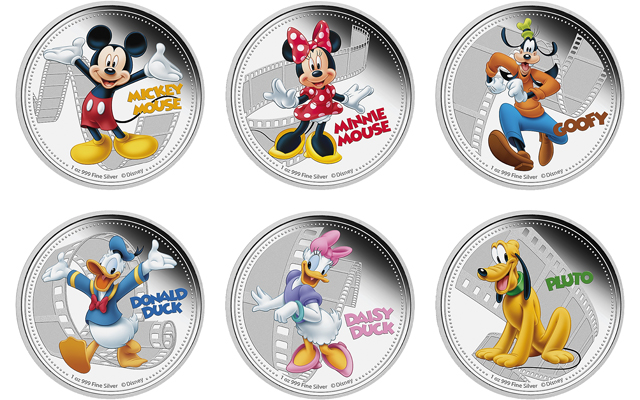 Mickey Mouse Donald Duck Disney Characters On Silver Coins