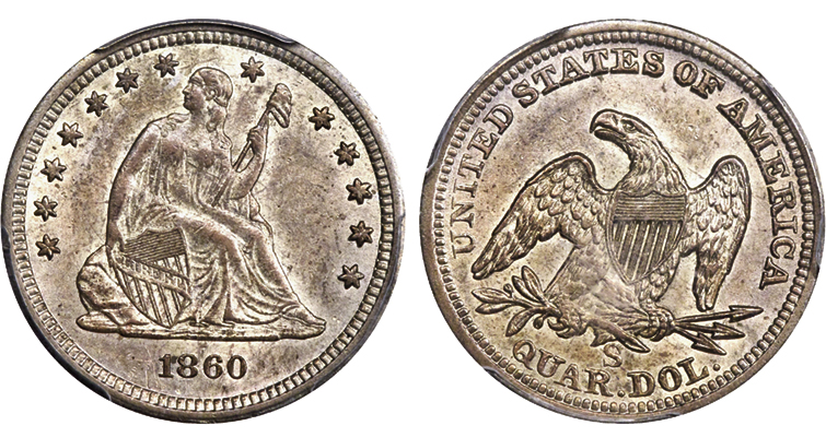 MS-61 1860-S Seated Liberty quarter dollar obverse and reverse