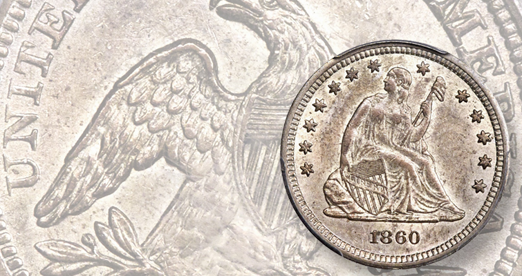 MS-61 1860-S Seated Liberty quarter dollar