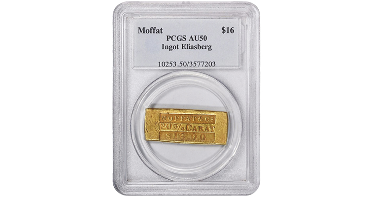 AU-50 gold ingot from Moffat & Co. stamped $16