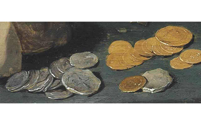 The coins on the table are representative of the types of coins that merchants might have encountered at the time.