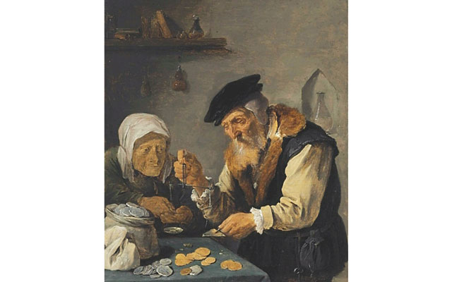 A painting of two people weighing money by 17th century Flemish artist David Teniers II brought $87,500 at Christie's Jan. 28 auction of Old Master Paintings in New York City.