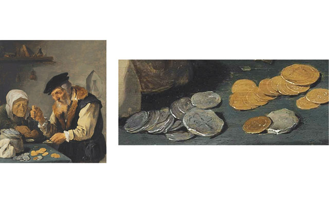 A painting of two people weighing money by 17th century Flemish artist David Teniers II brought $87,500 at Christie's Jan. 28 auction of Old Master Paintings in New York City. The coins on the table are representative of the types of coins that merchants might have encountered at the time. Like the rare coin industry, the Old Master category is redefining itself to adapt to shifting collector tastes and to attract new buyers.  Images courtesy of Christie's.