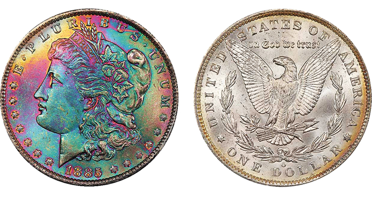 Monster toned 1885-O Morgan dollar obverse and reverse