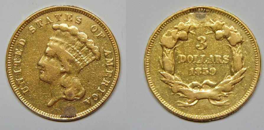 This 1859 $3 gold coin has telltale jewelry marks, reducing its value.