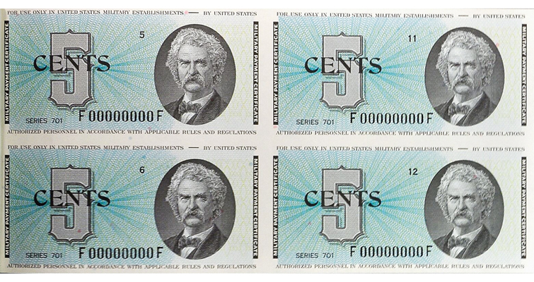 Series 701 Twain 5-cent military payment certificates