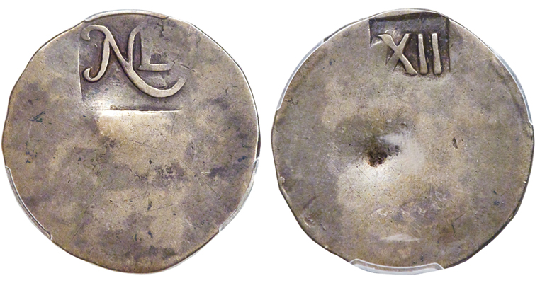 undated (1652) silver New England shilling
