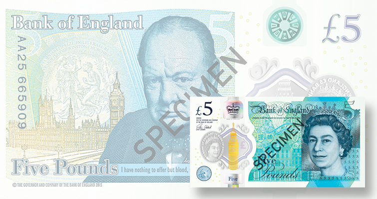 New £5 note with Winston Churchill