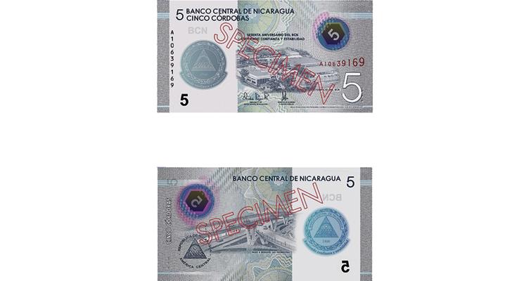 Nicaragua 5 cordoba note