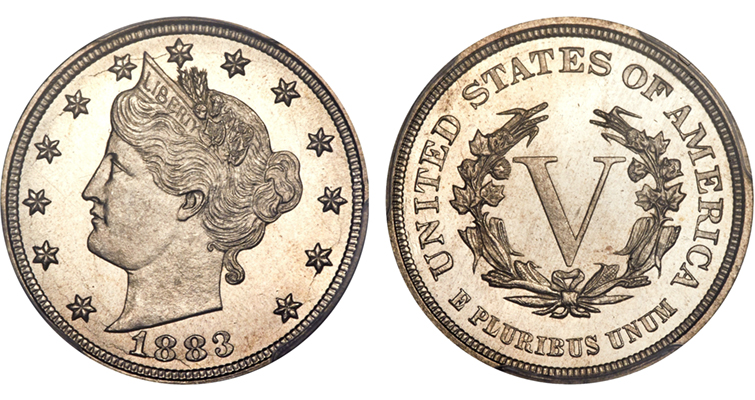 1883 No CENTS 5-cent coin. Swindlers saw the size similarity to the  $5 gold coin, plated the 5-cent pieces and passed them off for a profit. The design was quickly modified.