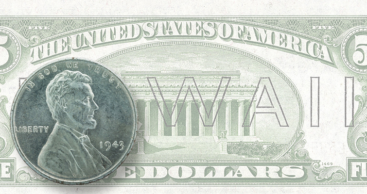 In 1943, U.S. Mint was competing with the military for the nation's copper and nickel. The result was some 500 million white, zinc-plated steel cents as well as uniquely marked silver nickels. For Hawaii, overprinted currency in several denominations was provided. In case the islands were captured  the paper money could be demonetized.