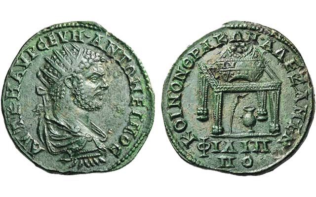 Bronze medallion of Roman ruler Caracalla celebrates Pythian Games