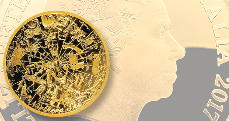 The second and final coin of the Royal Australian Mint's delightful series of Celestial Dome curved gold coins is another very intricate design by Bronwyn King showing the various constellations of the northern sky. The convex obverse of the $100 gold coin series carries the Ian Rank-Broadley image of Queen Elizabeth II.