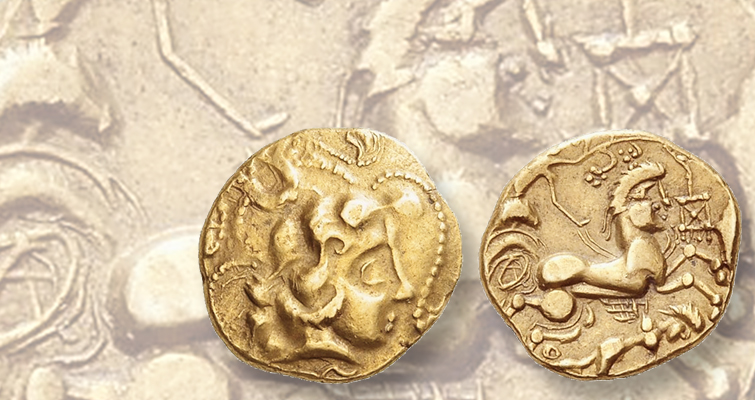Celtic stater from modern-day France imitates Greek gold coin