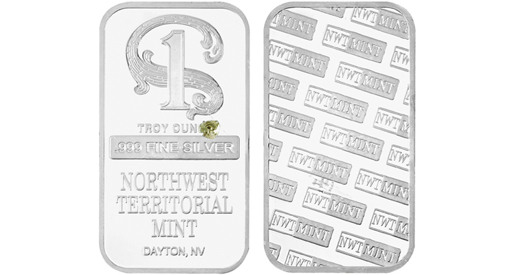 Counterfeit 1-ounce silver bar made in China replicates the designs that appear on genuine silver bars produced by Northwest Territorial Mint.