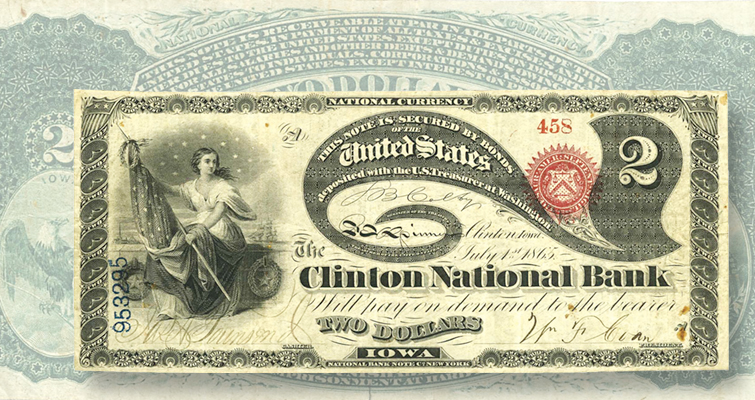 Original Series $2 note from the Clinton National Bank of Iowa