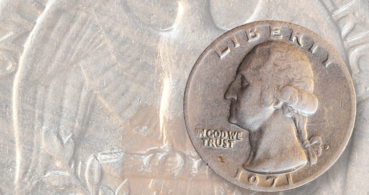 The mystery of two 1971-D Washington quarters struck on solid copper-nickel blanks