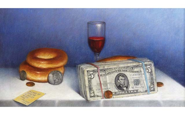 Art of Otis Kaye featuring coins and paper money enjoys a robust market