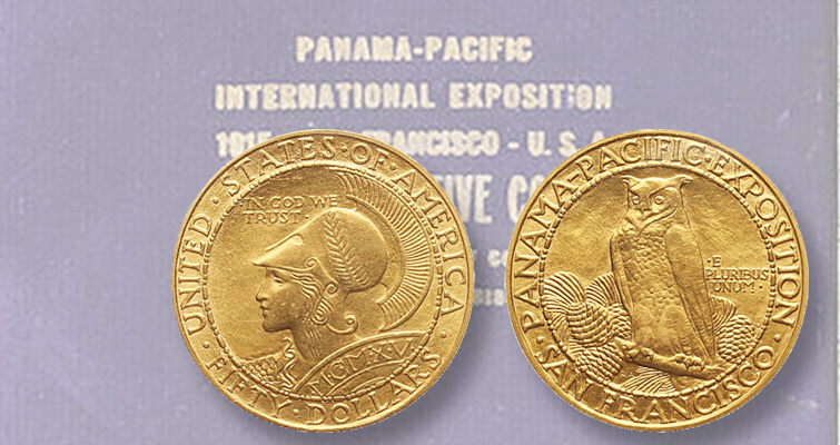 1915-S Panama-Pacific commemorative set, in leather case, in Bonhams auction