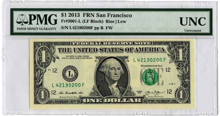 PMG 2013 federal reserve note