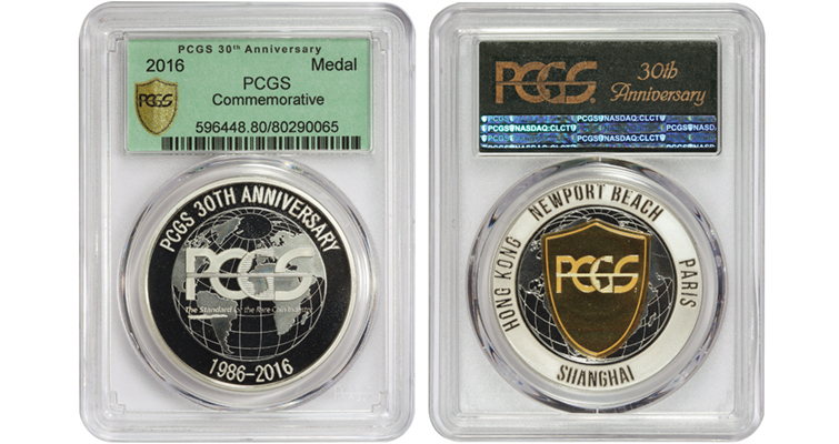 PCGS 30-year-commemorative medal holder merged