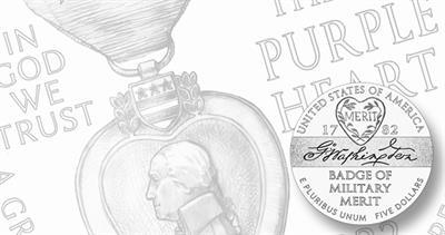 Purple Heart gold $5 coin