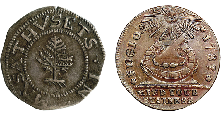 Pine Tree shilling Fugio cent merged
