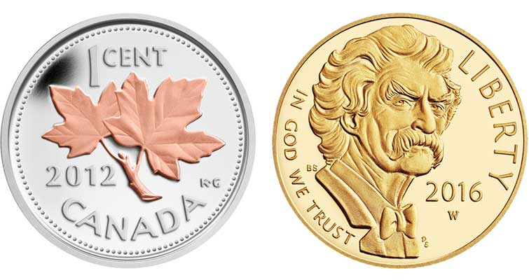 pink gold on 2012 Canadian cent vs 2016-W Mark Twain .900 fine gold $5