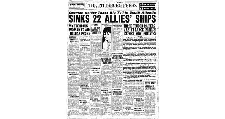 Pittsburgh Press front page World War I