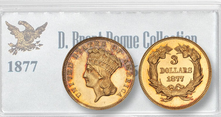 One of few known 'true Mint State' 1877 Indian Head gold $3 coins was sold during Pogue III: Market Analysis